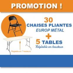 Tables réglables en hauteur, pliantes en polypro et chaises pliantes en métal