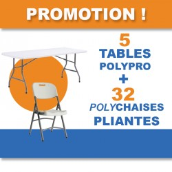 PROMOTION 5 TABLES POLYPRO + 32 POLYCHAISE PLIANTES