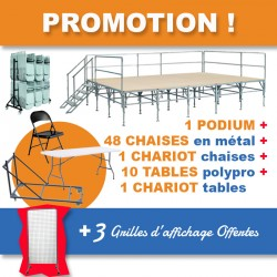 Pack comprenant 1 podium, 10 tables polypro, 1 chariot pour tables, 48 chaises pliantes, 1 chariot pour chaises et 3 grilles off