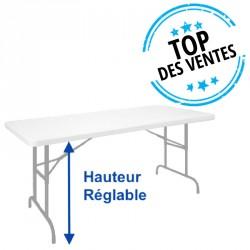 Table pliante polypro réglable en hauteur