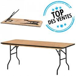 Table pliante avec plateau bois exotique pour salle des fêtes Tarragone