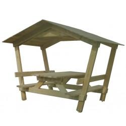 Table de pique-nique et banc avec ombrière - CASTOR