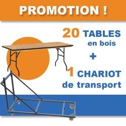 PROMO : 20 tables en bois exotique avec protection des chants et 1 chariot de transport