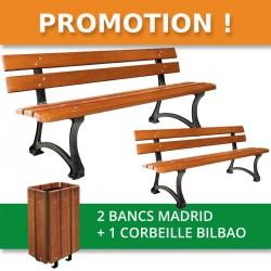 Lot de 2 bancs madrid + 1 Corbeille Bilbao sans couvercle
