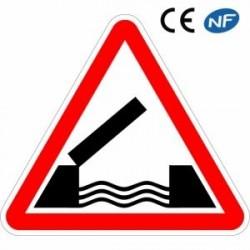 Panneau de circulation en aluminium ATTENTION pont mobile (A6)
