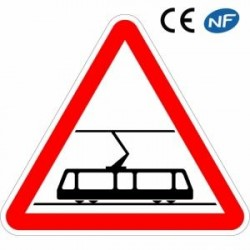 Panneau de signalisation traversée de voie de tramway (A9)