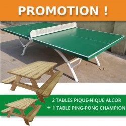 Lot de 2 tables pique-nique ALCOR 220cm à poser + 1 table ping-pong CHAMPION à poser