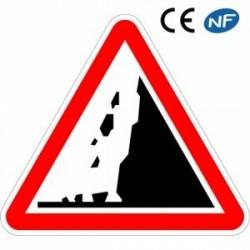 Panneau de signalisation annonçant undanger derisque dechute depierres (A19)