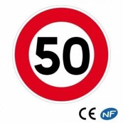 Panneau de circulation annonçant une limitation devitesse (B14)