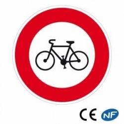 Panneau de circulation signalant un accès interdit aux bicyclettes