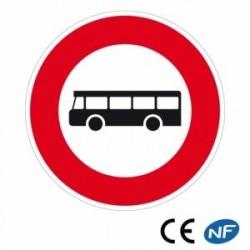 Panneau routier interdit à tous les véhicules de transport en commun