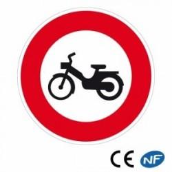 Panneau de circulation indiquant unaccès interdit aux cyclomoteurs (B9g)