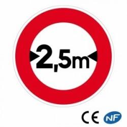 Panneau de signalisation limitation de largeur