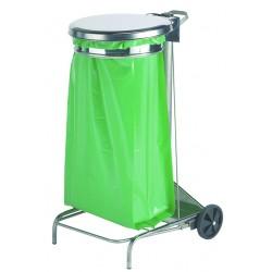 Support sac poubelle mobile en inox avec pédale 110 Litres