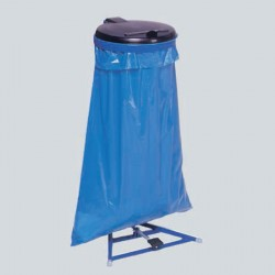 Structure bleue gentiane et couvercle noir pour sac poubelle