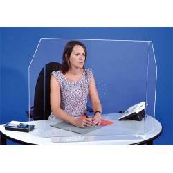 Grande paroi en plexiglass avec rebords et perforations pour protection Covid