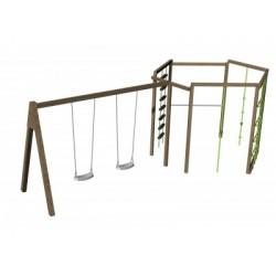 2 Balançoires + la structure de jeux à grimper de forme hexagonale