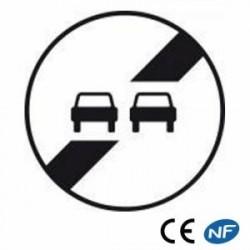 Panneau aluminium signalisation fin d'interdiction de doubler