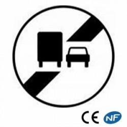 Panneau de circulation fin d'interdit de doubler pour les poids lourds