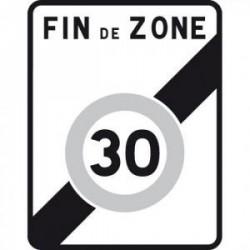 Panneau de route indiquant la fin d'une zone à 30 km/h B51