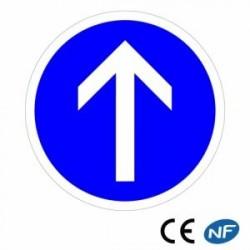 Panneau de circulation pour une obligation d'aller tout droit B21b