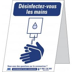 Affiche ou chevalet pour annoncer un point de désinfection des mains
