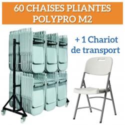 Lot de 60 chaises pliantes ergonomique et 1 chariot de transport