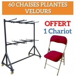 Lot de 60 chaises pliantes velours Bordeaux Opera + 1 chariot OFFERT