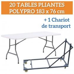 Lot de 20 Tables pliantes polypro 183x76cm + 1 chariot de transport