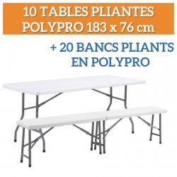 Lot de 10 tables pliantes + 20 bancs pliants en polypro