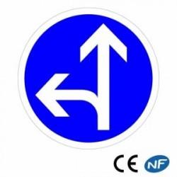 Panneau de route Code de la route Obligation d'aller tout droit ou tourner à gauche