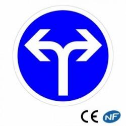 Panneau de police en alu direction obligatoire à droite ou à gauche B21e