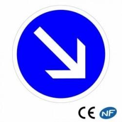 Panneau de police contournement obligatoire par la droite B21a1