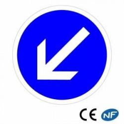 Panneau de circulation routière Contournement obligatoire par la gauche B21a2