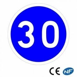 Panneau de circulation obligation de vitesse minimale B25