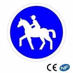 Panneau de circulation indiquant un chemin obligatoire pour tous les cavaliers