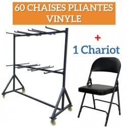 LOT 60 CHAISES EUROP VINYLE PLIANTES + 1CHARIOT POUR CHAISES