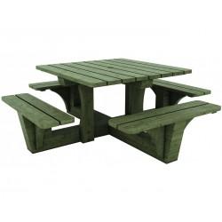 Table pique-nique carré en bois Essen