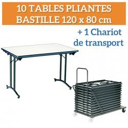Lot de 10 Tables pliantes Bastille + 1 chariot de transport