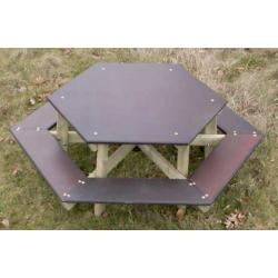 Table pique-nique avec bancs hexagonale pour enfants