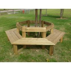 Banquette en bois jusqu'à 12 places assises et protection des jeunes arbres