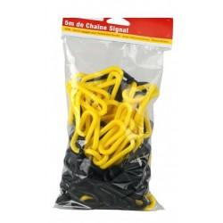 Sachet de 5 m de chaînette en plastique jaune et noir
