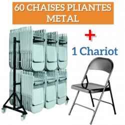 Lot de 60 CHAISES EUROP MÉTAL PLIANTES + 1CHARIOT POUR CHAISES