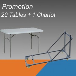 Lot de 20 tables polypro + 1 chariot de transport