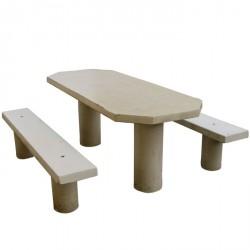 Découvrez la table de pic nic en béton ovale pour l'aménagement des parcs