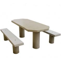Table pique-nique en béton armé ovale