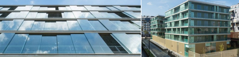 Les baies vitrées du Montmartre Housing à Paris 18