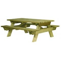 Table de pique-nique en bois, table en bois avec banc, table en bois ...
