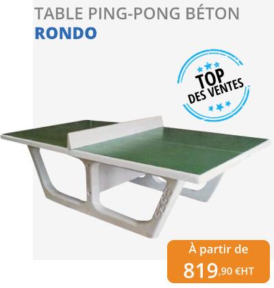 table de ping-pong en béton rondo - leader équipements