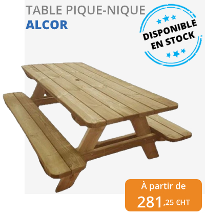 table pique-nique en bois ALCOR - leader équipements